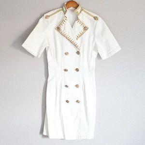 Vintage Monique Fashions White Denim Studded Dress